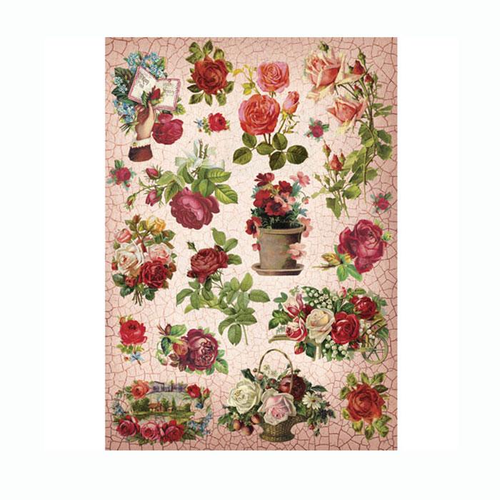 Рисовая бумага для декупажа Craft Premier Кракелюровые розы, A3CP09995