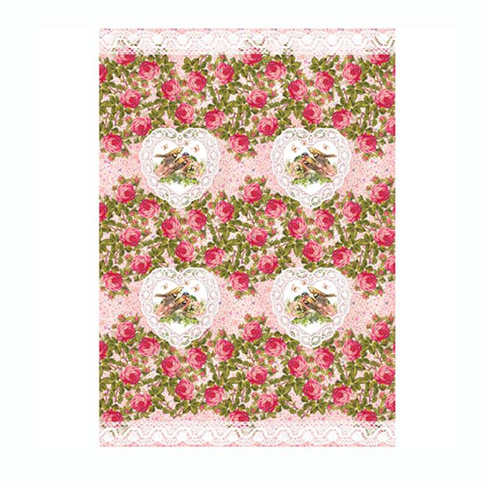 Рисовая бумага для декупажа Craft Premier Розы-сердечки, A3CP06297