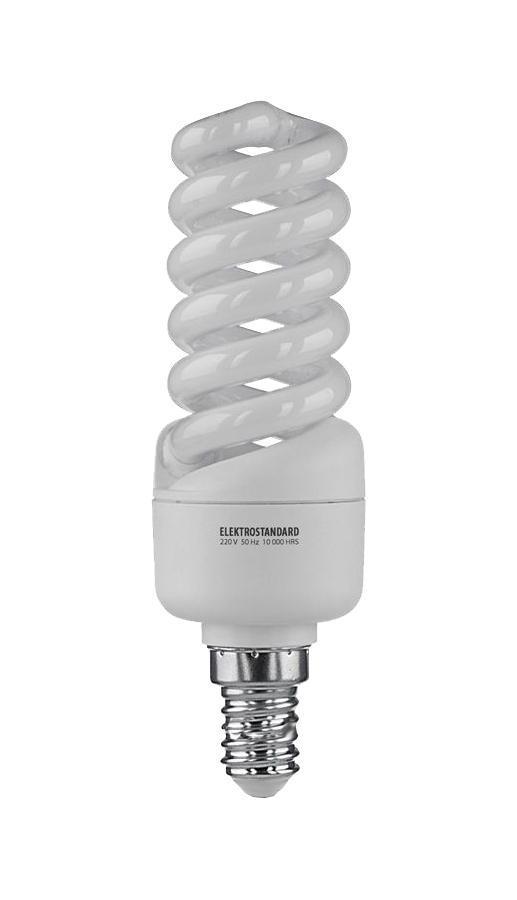 Elektrostandard лампа энергосберегающая Микро винт, теплый свет, цоколь Е14, 15Wa023963Энергосберегающая лампа Электростандарт Микро винт способствует расслаблению, ее лучше использовать в спальнях, местах отдыха. Сфера применения энергосберегающей лампы Электростандарт та же, что и у лампы накаливания, но данная лампа имеет ряд преимуществ: температура колбы ниже, чем у ламп накаливания, что позволяет использовать энергосберегающие лампы в тканевых абажурах без риска их выцветания и возникновения пожара; полностью заменяет галогенные и обычные лампы накаливания. Лампа обладает высоким индексом цветопередачи Ra >80. Это означает, что все цвета объектов, освещаемые лампой, выглядят естественно и натурально. Лампа оборудована системой плавного запуска, позволяющего лампе загораться постепенно в течение 1-2 секунд. Электронное пускорегулирующее устройство не вызывает стробоскопического эффекта при работе лампы, что оказывает благоприятное воздействие на глаза человека и его нервную системуНапряжение: 220 вольт