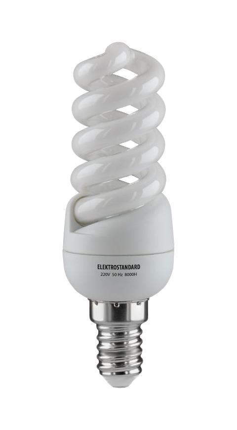 Elektrostandard лампа энергосберегающая Микро винт, теплый свет, цоколь Е14, 11Wa023974Энергосберегающая лампа Электростандарт Микро винт способствует расслаблению, ее лучше использовать в спальнях, местах отдыха. Сфера применения энергосберегающей лампы Электростандарт та же, что и у лампы накаливания, но данная лампа имеет ряд преимуществ: температура колбы ниже, чем у ламп накаливания, что позволяет использовать энергосберегающие лампы в тканевых абажурах без риска их выцветания и возникновения пожара; полностью заменяет галогенные и обычные лампы накаливания. Лампа обладает высоким индексом цветопередачи Ra >80. Это означает, что все цвета объектов, освещаемые лампой, выглядят естественно и натурально. Лампа оборудована системой плавного запуска, позволяющего лампе загораться постепенно в течение 1-2 секунд. Электронное пускорегулирующее устройство не вызывает стробоскопического эффекта при работе лампы, что оказывает благоприятное воздействие на глаза человека и его нервную системуНапряжение: 220 вольт