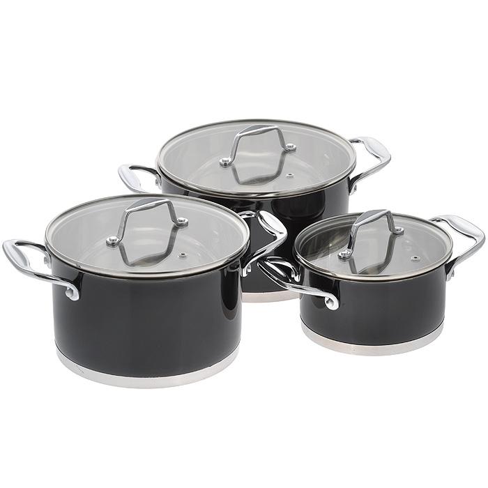 Набор посуды Rainstahl, цвет: черный, 6 предметов. 1063RSBK1063RSBKХарактеристики: Материал: нержавеющая сталь, стекло. Объем кастрюль: 1,7 л, 3,7 л, 4,9 л. Внутренний диаметр кастрюль: 16 см, 20 см, 22 см. Высота стенки кастрюль: 8,5 см, 12 см, 13 см. Толщина стенок посуды: 0,3 см. Толщина дна посуды: 0,7 см.УВАЖАЕМЫЕ КЛИЕНТЫ!Обращаем ваше внимание на тот факт, что объем посуды указан максимальный, с учетомполного наполнения до кромки. Шкала на внутренней стенке посуды имеет меньшийлитраж.