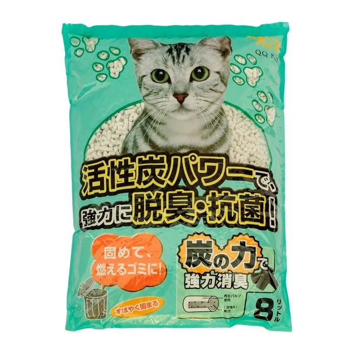 Наполнитель для кошачьего туалета QQ Kit  Активированный уголь , бумажный, 8 л - Наполнители и туалетные принадлежности