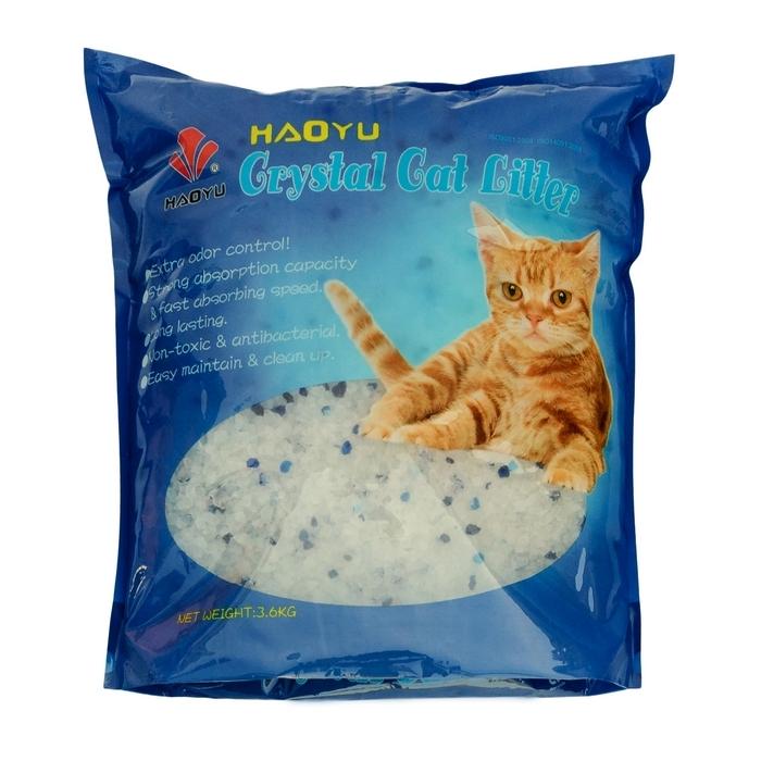 Наполнитель для кошачьего туалета Haoyu  Crystal Cat Litter , силикагелевый, 3,6 кг - Наполнители и туалетные принадлежности