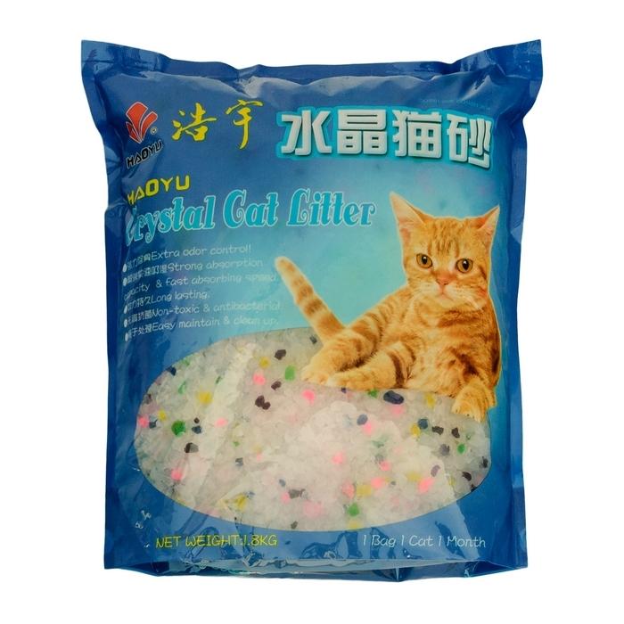 Наполнитель для кошачьего туалета Haoyu Crystal Cat Litter, силикагелевый, цветные гранулы, 1,8 кг900015Силикагелевый наполнитель Haoyu Crystal Cat Litter - это уникальный продукт на рынке наполнителей для кошачьих туалетов. Основной компонент наполнителя - диоксид кремния. Наполнитель не растворяется в воде, не обладает собственным запахом и не содержит пыли, способной вызвать аллергию у людей и животных. Сильная адсорбирующая способность силикагелевой основы наполнителя позволяет получить огромный коэффициент влагопоглощения - более 80%. При этом наполнитель вследствие его пористой структуры под действием влаги не размокает, а впитывает ее таким образом, что поверхность наполнителя остается сухой. Кроме влаги наполнитель Haoyu Crystal Cat Litter способен поглощать практически все бактерии, а также молекулы, создающие неприятный запах. Это свойство наполнителя купировать запахи, бактерицидный эффект, а также способность поверхностного слоя наполнителя оставаться сухим особенно важны в тех случаях, когда лоток используется несколькими животными. Состав: диоксид кремния. Объем: 1,8 л.