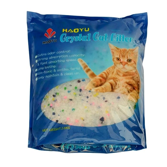 Наполнитель для кошачьего туалета Haoyu  Crystal Cat Litter , силикагелевый, цветные гранулы, 3,6 кг - Наполнители и туалетные принадлежности
