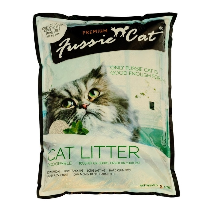 """Наполнитель для кошачьего туалета """"Fussie Cat"""", комкующийся, 5 л"""