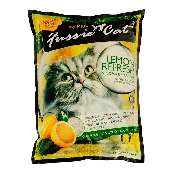 """Наполнитель для кошачьего туалета """"Fussie Cat"""", комкующийся, с ароматом лимона, 5 л"""