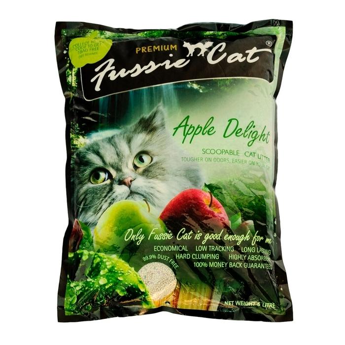 """Наполнитель для кошачьего туалета """"Fussie Cat"""", комкующийся, с ароматом яблока, 5 л"""