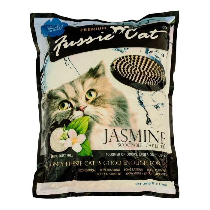 """Наполнитель для кошачьего туалета """"Fussie Cat"""", комкующийся, с ароматом жасмина, 5 л"""