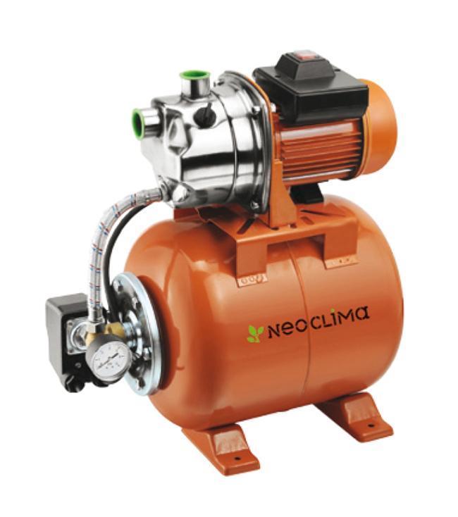 Насос NeoclimaGP 1000/20 N20627Насосная станция Neoclima GP 1000/20 N - это поверхностный насос-автомат, оснащенный напорным гидробаком и автоматической системой управления. Благодаря износостойким и высокопрочным материалам достигается высокая прочность агрегата и эффективная, длительная, бесперебойная эксплуатация. Защита от перегрева электродвигателя осуществляется благодаря встроенному вентилятору.