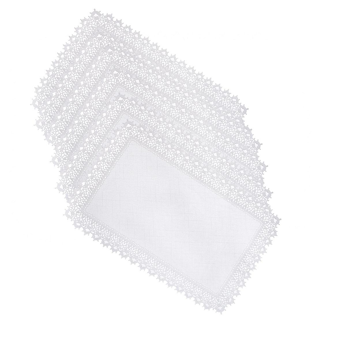 Набор салфеток Ажурные, цвет: белый, прямоуголные, 30 х 45 см, 6 шт811-129Набор салфеток Ажурные включает в себя 6 салфеток, выполненных из винила и оформлены кружевным узором. Преимущества салфеток состоят в том, что они достаточно легко оттираются от загрязнений, не нуждаются в глажке и при этом всегда украшает стол своим внешним видом. Вы можете использовать салфетки для декорирования стола, комода, журнального столика. В любом случае они добавят в ваш дом стиля, изысканности и неповторимости и уберегут мебель от царапин и потертостей. Характеристики: Материал: 100% винил. Диаметр скатерти: 30 см х 45 см. Цвет: белый. Страна-изготовитель: Китай.