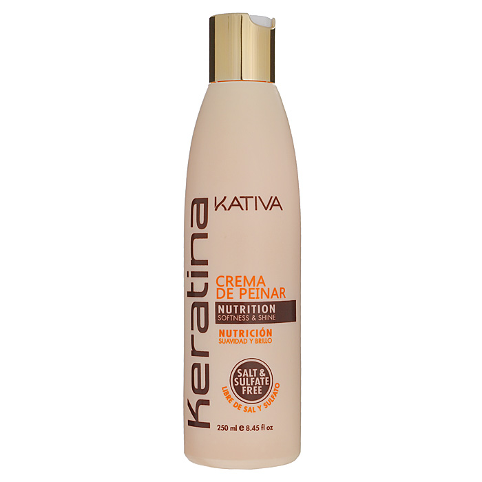 Kativa Укрепляющий крем для укладки с кератином для всех типов волос KERATINA, 250 мл косметические маски kativa интенсивный уход защита цвета kativa для всех типов волос quinua 500 мл