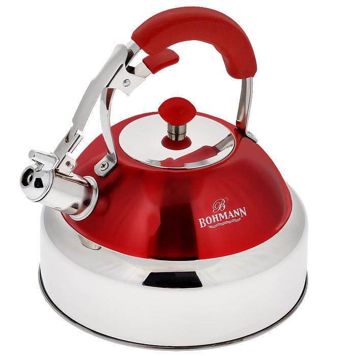 Чайник Bohmann со свистком, цвет: красный, 4 л. 9987BH9987BH красныйЧайник Bohmann изготовлен из высококачественной нержавеющей стали с зеркальной полировкой и оформлен цветной эмалью. Нержавеющая сталь - материал, из которого в течение нескольких десятилетий во всем мире производятся столовые приборы, кухонные инструменты и различные аксессуары. Этот материал обладает высокой стойкостью к коррозии и кислотам. Прочность, долговечность и надежность этого материала, а также первоклассная обработка обеспечивают практически неограниченный запас прочности и неизменно привлекательный внешний вид. Чайник оснащен удобной ручкой с цветной силиконовой вставкой, что предотвращает появление ожогов и обеспечивает безопасность использования. Благодаря широкому верхнему отверстию, в чайник удобно заливать воду и прочищать его изнутри. Носик чайника имеет откидной свисток для определения кипения, который открывается нажатием рычага на ручке. Можно использовать на газовых, электрических, галогенных, стеклокерамических, индукционных плитах. Можно мыть в посудомоечной машине.