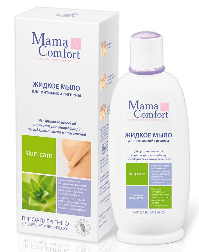 Мыло жидкое Mama Comfort для интимной гигиены, 250 мл03.09.01.0190-1Жидкое мыло Mama Comfort для интимной гигиены является специальным средством для ухода за деликатными участками тела в период беременности и после родов. В состав мыла входят натуральные активные компоненты, которые обеспечивают мягкое очищение, снимают сухость и раздражение слизистой, придают чувство комфорта, чистоты и свежести. Мыло поддерживает физиологический уровень рН интимной зоны, устраняет ощущение дискомфорта. Активные компоненты:натуральный пребиотик, ионы серебра, экстракты зеленого чая, череды и тысячелистника.Противопоказания: индивидуальная непереносимость компонентов.