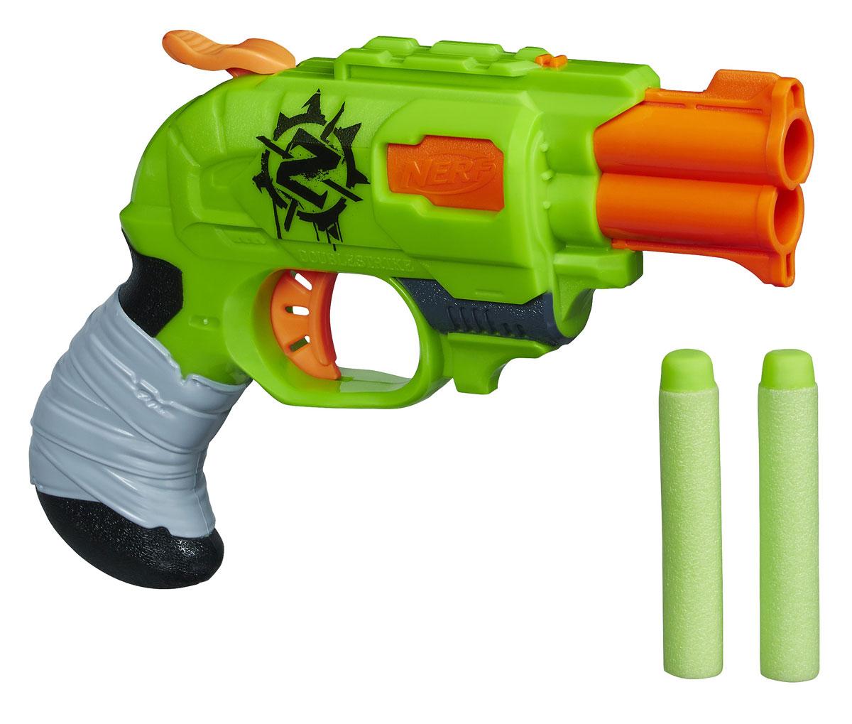 Nerf Бластер Zombie Strike, с патронами, цвет: салатовый, оранжевый nerf бластер zombie strike slingfire с патронами цвет салатовый коричневый оранжевый