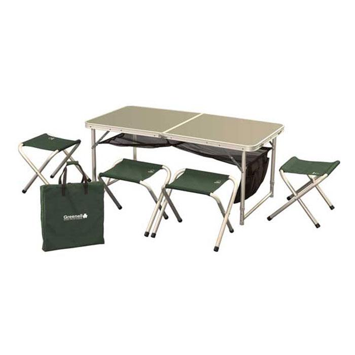 Набор складной мебели Greenell FTFS-1, 5 предметов71241-366-00Набор складной мебели предназначен для хорошо организованного отдыха на природе. Набор компактен и удобно складывается. Табуретки убираются внутрь. Сетка, расположенная под столом, входит в комплект.Так же набор имеет чехол для переноски.Набор складной мебели может послужить отличным подарком любому дачнику, охотнику и рыбаку. Любой отдыхающий за городом человек позавидует вам, увидев набор складной мебели.Размер табуретки (ДхШхВ): 29,5 см х 41 см х 34 см.Размер сиденья табуретки: 29,5 см х 28 см.