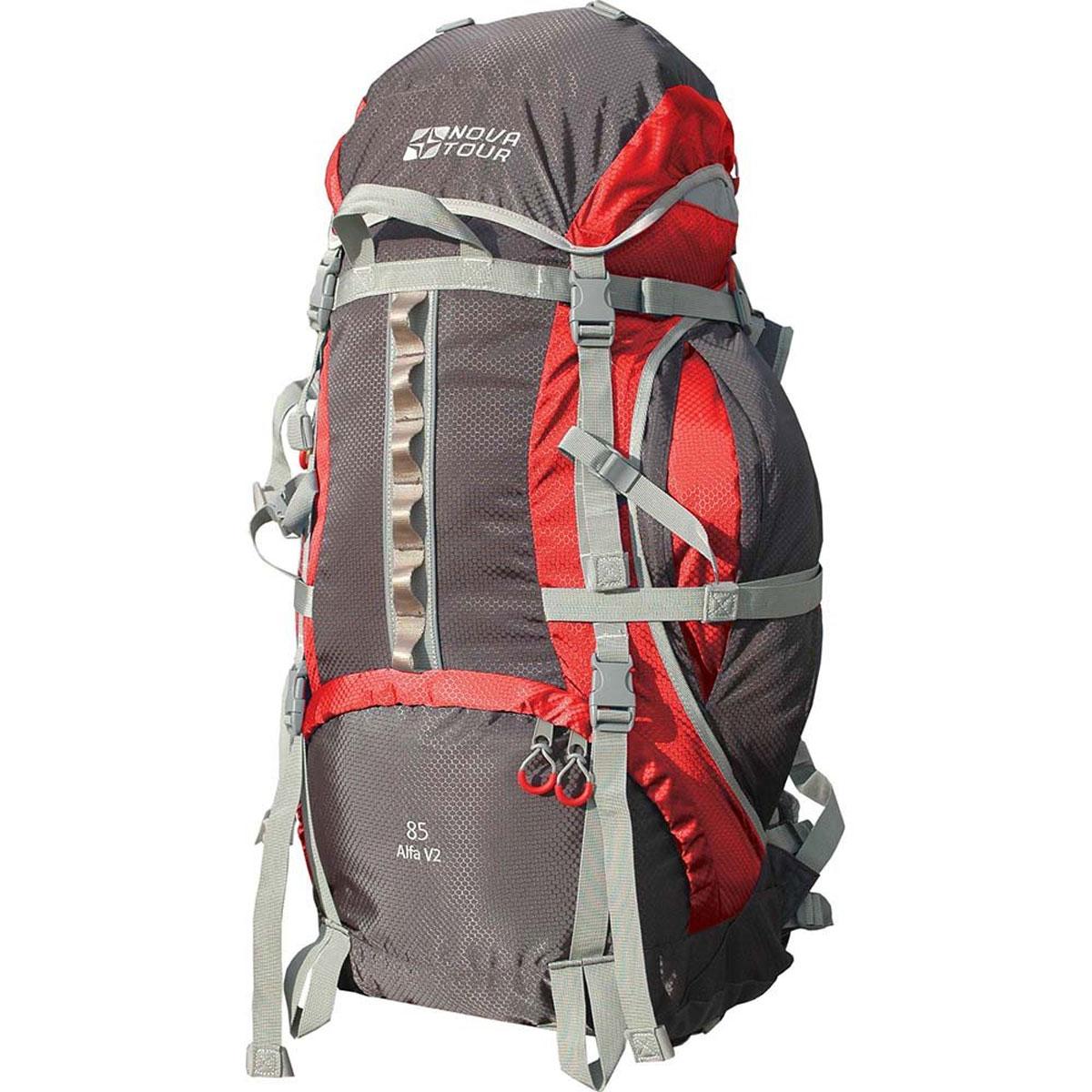 Рюкзак Nova Tour Альфа 85 V2, цвет: серый, красный. 95312-057-0095312-057-00Если вам нравится прыгать с камня на камень или двигаться по узкой горной тропе - этот рюкзак с усиленны-ми стропами специально для вас. Ваша спина будет благодарна за правильно распределяющую вес на плечи и пояс и уменьшающую нагрузку на позвоночник подвесную систему. Теперь доступ к нужным в дневном переходе вещам стал проще благодаря двум вместительным боковым карманам. Если их мало, то на дне рюкзака имеется удобное крепление для габаритных вещей (палатки). Для большего удобства крепления горного инвентаря разработана новая система навески. Если нужно что-то достать со дна рюкзака воспользуйтесь удобным нижним входом. В горах погода переменчива, может внезапно пойти дождь, но вещи всегда будут оставаться сухими, с идущим в комплекте гермочехлом в потайном кармане, на дне рюкзака. На концах боковых стяжек имеются липучки для закрепления излишков стропы.Особенности:Подвеска: ABS V2;Ткань: Poly Oxford 600D PU RipStop;Защитный чехол;Узлы крепления горного снаряжения;Грудная стяжка;Фурнитура Nifco;Светоотражающий кант;Закрепка;Объем: 85 литров.