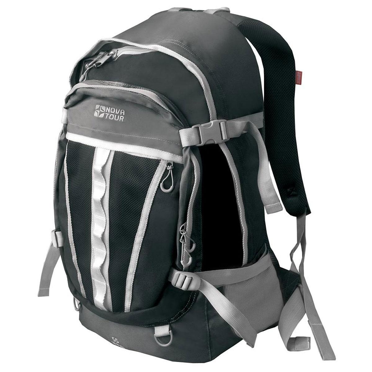 Рюкзак городской Nova Tour Слалом 55 V2, цвет: черный. 95138-902-0095138-902-00Если все, что нужно ежедневно носить с собой, не помещается в обычный рюкзак, то Слалом 55 V2 специально для вас. Два вместительных отделения можно уменьшить боковыми стяжками или наоборот, если что-то не поместилось внутри, навесить снаружи на узлы крепления. Для удобства переноски тяжелого груза, на спинке предусмотрена удобная система подушек Air Mesh с полностью отстегивающимся поясным ремнем.Особенности:Прочная ткань с непромокаемой пропиткой.Сетчатый материал, отводящий влагу от вашего тела. Применяется на лямках, спинках и поясе рюкзака.Грудная стяжка для правильной фиксации лямок рюкзака и предотвращения их соскальзывания.Органайзер позволяет рационально разместить мелкие вещи внутри рюкзака.Объем: 55 л.