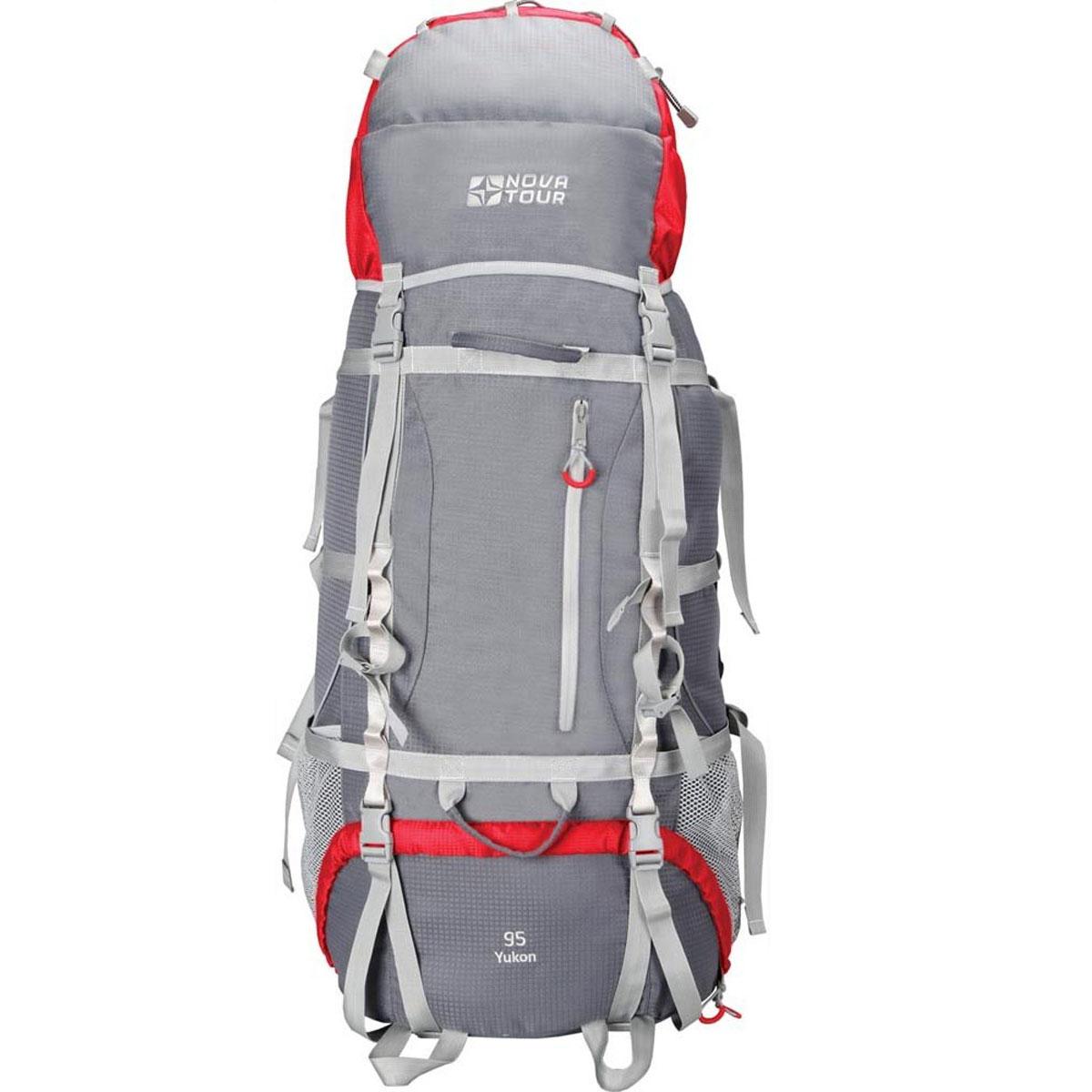 """Рюкзак туристический  Nova Tour """"Юкон 95 V2"""", цвет: серый, красный. 11203-051-00"""