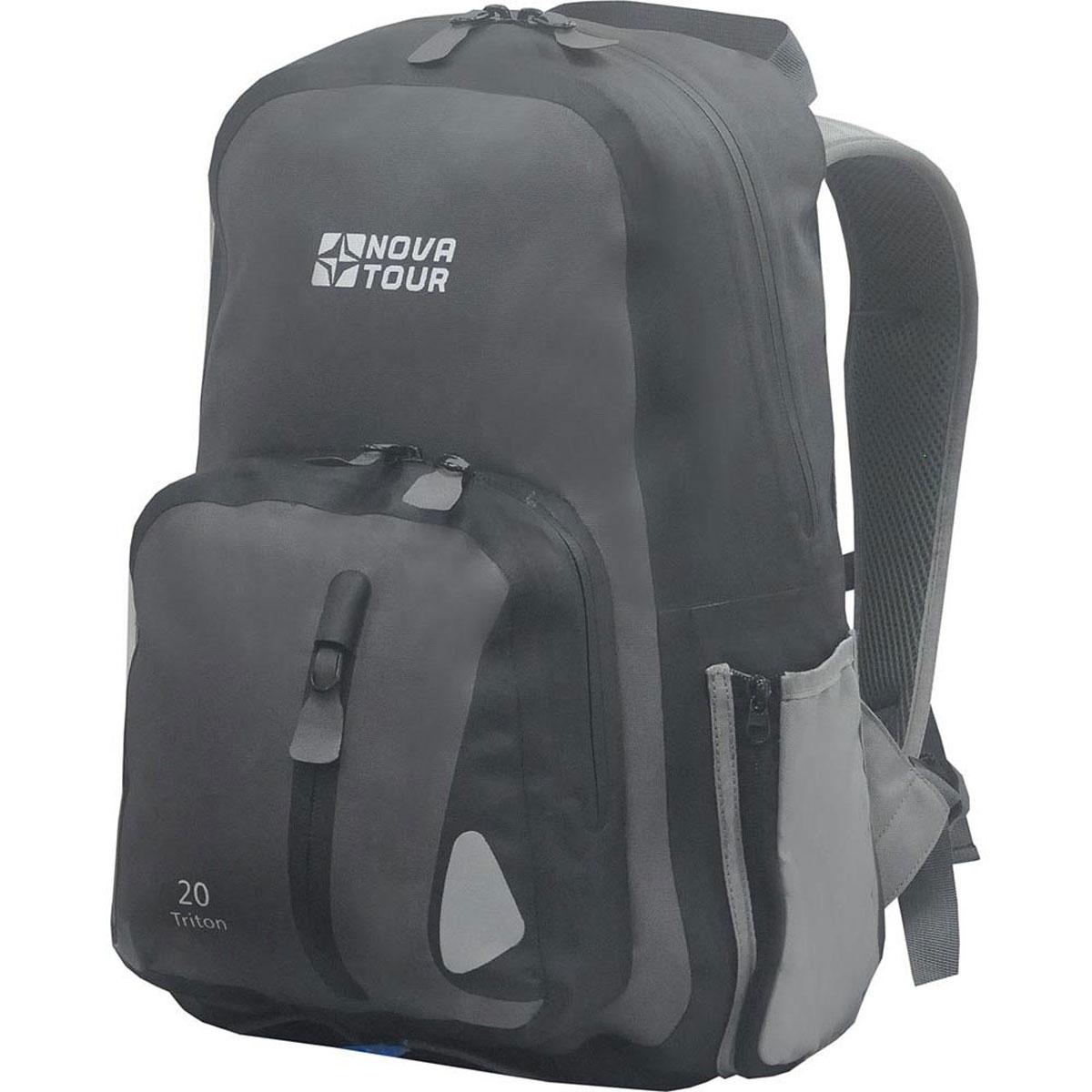 Рюкзак водонепроницаемый Nova Tour Тритон 20, цвет: серый. 95141-906-0095141-906-00Компактный рюкзак для ношения спортивной одежды и всего необходимого для тренировок на свежем воздухе. Вам больше не нужно переживать по поводу содержимого рюкзака, если на велопрогулке застанет дождь – все молнии на рюкзаке водонепроницаемы.Объем: 20 литров.
