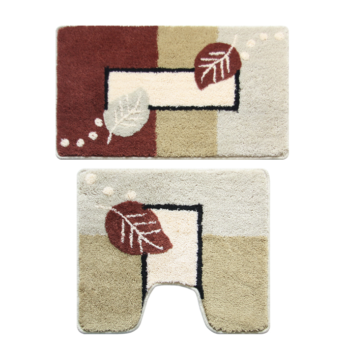 Набор ковриков для ванной комнаты Milardo Late Autumn, 2 шт340PA68M13Набор Milardo Late Autumn включает два коврика для ванной комнаты: прямоугольный и с вырезом. Коврики изготовлены из полиэстера и акрила. Это экологически чистый, быстросохнущий, мягкий и износостойкий материал. Изделия оформлены изображением листьев; красители устойчивы, поэтому рисунок не потеряет цвет даже после многократных стирок в стиральной машине. Благодаря латексной основе коврики не скользят на полу. Края изделий обработаны оверлоком. Можно использовать на полу с подогревом. Рекомендации по уходу:- Разрешена стирка в стиральной машине при температуре 40°С при щадящем режиме отжима.- Нельзя гладить. - Нельзя отбеливать. - Химчистка запрещена.