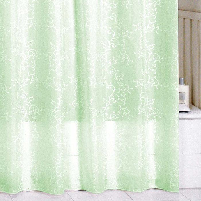 Штора для ванной комнаты Milardo Green Leaf, 180 см х 200 см. SCMI084P1011155Штора для ванной комнаты Milardo, изготовлена из полиэстера с водоотталкивающей пропиткой, декорирована витиеватым рисунком. Штора быстро сохнет, легко моется (разрешена деликатная стирка в стиральной машине при температуре 30°С без отжима) и обладает повышенной износостойкостью, благодаря двойной обработке краев и устойчивым красителям. Вверху предусмотрены пластиковые люверсы. В комплекте также имеется 12 пластиковых колец. Штора для ванной Milardo порадует вас своим ярким дизайном и добавит уюта в ванную комнату.