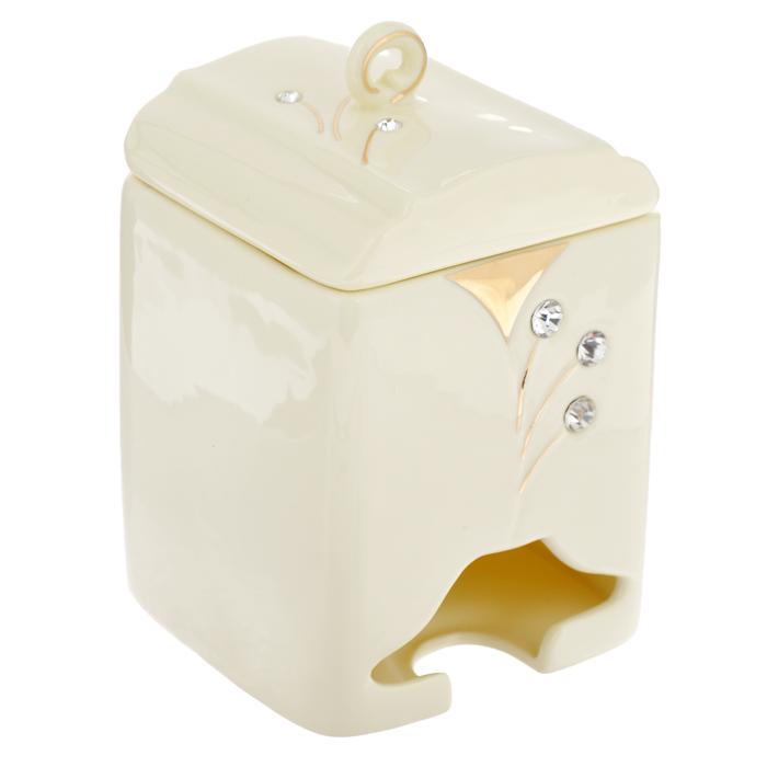 Банка-домик для чайных пакетиков Желтая фантазия. 595-377595-377Банка-домик для чайных пакетиков Желтая фантазия изготовлена из высококачественного фарфора цвета слоновой кости. Крышка и корпус банки декорированы стразами и рельефом, покрытым золотистой эмалью.Элегантная банка-домик для чайных пакетиков Желтая фантазия идеально подойдет для сервировки стола и станет отличным подарком к любому празднику.Банка упакована в подарочную коробку. Характеристики:Материал: фарфор. Высота банки (без учета крышки): 14 см. Размер банки: 8,5 см х 8,5 см.