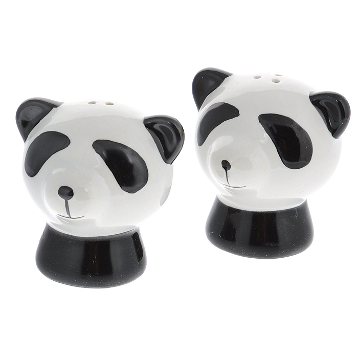 Набор для специй Идея Панда, 2 предмета, цвет: черный, белыйPND-01Набор для специй Идея Панда, состоящий из солонки и перечницы, выполнен из керамики в виде милых панд. Благодаря своим небольшим размерам набор не займет много места на вашей кухне. Емкости легки в использовании: стоит только перевернуть их, и вы с легкостью сможете добавить соль и перец по вкусу в любое блюдо. Дизайн, эстетичность и функциональность набора Идея Панда позволят ему стать достойным дополнением к кухонному инвентарю. Не рекомендуется мыть в посудомоечной машине. Характеристики:Материал: керамика, пластик. Размер емкости:6 см х 6 см х 6 см.