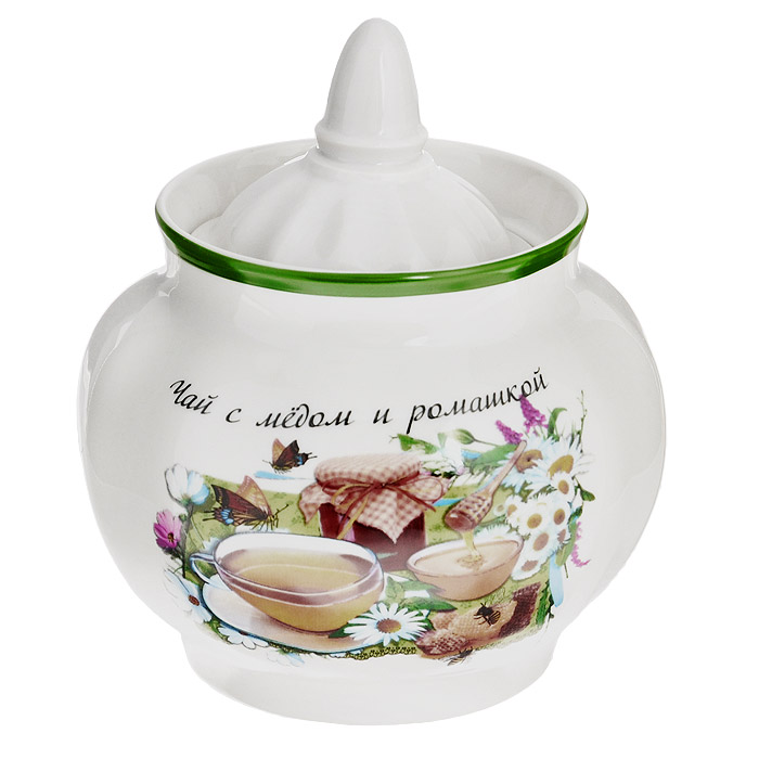 Сахарница Гранатовая Чай с медом и ромашкой, 600 мл. 102-006102-006Сахарница Гранатовая Чай с медом и ромашкой, изготовленная из фарфора, прекрасно впишется в интерьер вашей кухни и станет достойным дополнением к кухонному инвентарю. Сахарница оформлена ярким рисунком и надписью в виде рецепта чая, снабжена крышкой. Такая сахарница не только украсит ваш кухонный стол и подчеркнет прекрасный вкус хозяйки, но и станет отличным подарком.Не применять абразивные чистящие средства. Не использовать в микроволновой печи. Мыть с применением нейтральных моющих средств. Не рекомендуется использовать в посудомоечных машинах во избежание повреждения золотистой отводки посуды. Характеристики:Материал: фарфор. Объем: 600 мл. Размер сахарницы с учетом крышки: 12 см х 11 см х 11 см.