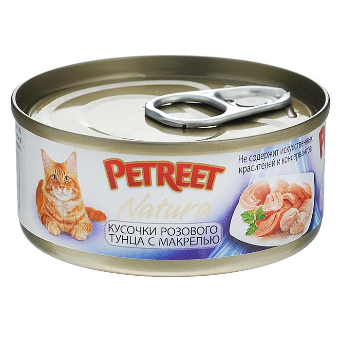 Консервы для кошек Petreet Natura, с кусочками розового тунца и макрелью, 70 г консервы для кошек petreet natura с кусочками розового тунца и морковью 70 г 6 шт
