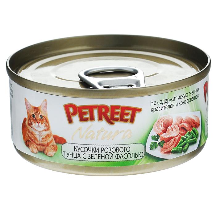 Консервы для кошек Petreet Natura, с кусочками розового тунца и зеленой фасолью, 70 г консервы для кошек petreet natura с кусочками розового тунца и морковью 70 г 6 шт