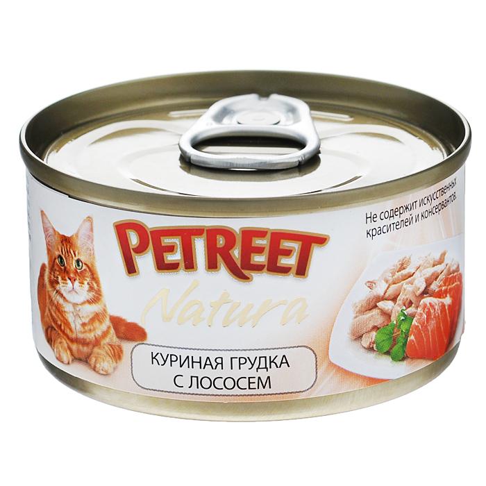 Консервы для кошек Petreet Natura, с куриной грудкой и лососем, 70 гА53517Полноценный сбалансированный корм для взрослых кошек всех пород. Консервы Petreet в виде нежного паштета изготовлены исключительно из натуральных продуктов и не оставят равнодушным ни одного питомца. В их состав входит до 64% основного компонента - мяса тунца, а это значит, что продукт богат протеином - источником бодрости вашей кошки. Для поддержания здоровья внутренних органов и зрения в состав консервов входит аргинин, таурин и незаменимые жирные кислоты Омега 3 и Омега 6. Идеально подходит для кастрированных и стерилизованных кошек.Основу консервов Petreet Natura с куриной грудкой и лососем, парное белое мясо грудки цыпленка с добавлением лосося. При умеренной калорийности в корме содержится высокий уровень белка (21,4%), витаминов и других, незаменимых для кошки веществ. Состав: куриная грудка (60%), лосось (13%), рис (2%), крахмал. Анализ: влажность - 84,0%, белок - 15,0%, клетчатка - 0,3%, жир - 1,6%, зола - 0,5%, витамин А - 666 МЕ/кг, витамин D3 - 50 МЕ/кг, витамин Е - 20 МЕ/кг. Вес 70 г. Товар сертифицирован.