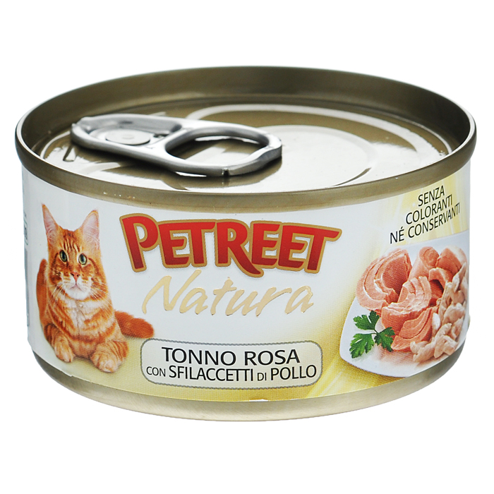 Консервы для кошек Petreet Natura, с куриной грудкой и тунцом, 70 гА53514Полноценный сбалансированный корм для взрослых кошек всех пород. Консервы Petreet в виде нежного паштета изготовлены исключительно из натуральных продуктов и не оставят равнодушным ни одного питомца. В их состав входит до 64% основного компонента - мяса тунца, а это значит, что продукт богат протеином - источником бодрости вашей кошки. Для поддержания здоровья внутренних органов и зрения в состав консервов входит аргинин, таурин и незаменимые жирные кислоты Омега 3 и Омега 6. При умеренной калорийности в корме содержится высокий уровень белка (15%). Уникальный высокоусвояемый полноценный гипоаллергенный рацион с низким показателем зольности (0,5%). Идеально подходит для кастрированных и стерилизованных кошек.Основу консервов Petreet Куриная грудка с тунцом составляет парное белое мясо грудки цыпленка с добавлением тунца.Состав: тунец (мин. 60%), бульон (24,7%), куриная грудка (12,5%), рис (2%), крахмал. Анализ: влажность - 84,0%, белок - 15,0%, клетчатка - 0,3%, жир - 1,6%, зола - 0,5%, витамин А - 666 МЕ/кг, витамин D3 - 50 МЕ/кг, витамин Е - 20 МЕ/кг. Вес 70 г. Товар сертифицирован.