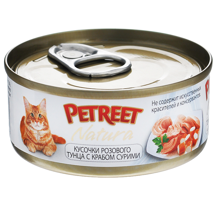 Консервы для кошек Petreet Natura, с кусочками розового тунца и крабом сурими, 70 г консервы для кошек petreet natura с кусочками розового тунца и морковью 70 г 6 шт