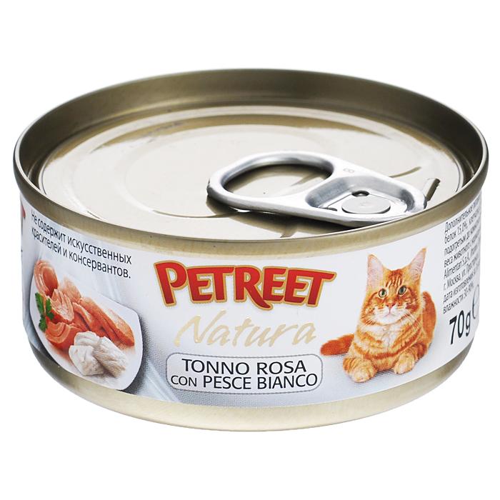 Консервы для кошек Petreet Natura, с кусочками розового тунца и рыбой дорада, 70 г консервы для кошек petreet natura с кусочками розового тунца и морковью 70 г 6 шт