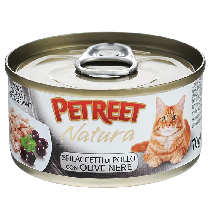 Консервы для кошек Petreet Natura, с куриной грудкой и маслинами, 70 г консервы для кошек petreet natura с кусочками розового тунца и морковью 70 г 6 шт