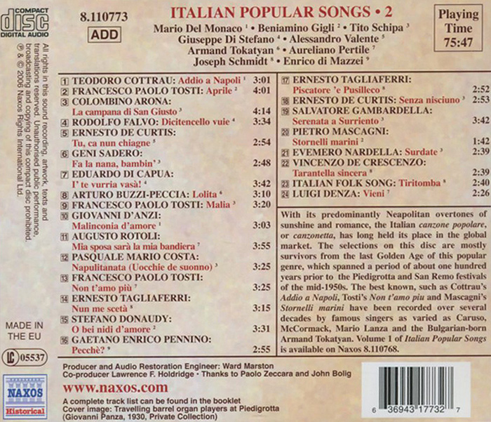 Italian Popular Songs.  Vol.  2 Naxos Rights International Ltd.,Warner Music