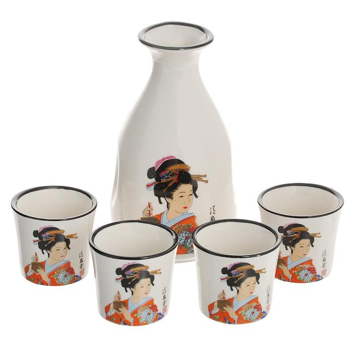 """Набор для саке Saguro """"Гейша"""" состоит из кувшинчика и 4 стопок. Изделия выполнены из высококачественного фарфора белого цвета, оформленного изящным изображением гейши. Небольшой кувшинчик оснащен носиком и сбоку двумя выемками для удобного захвата. Набор для саке - это прекрасный подарок для ваших друзей или родственников, который подарит новые ощущения во время трапезы, а также придаст вашему интерьеру восточный колорит.   Характеристики: Материал: фарфор. Цвет: белый. Объем кувшинчика: 280 мл. Диаметр кувшинчика (по верхнему краю): 4,3 см. Высота кувшинчика: 13,5 см. Диаметр основания кувшинчика: 7 см. Объем стопки: 40 мл. Диаметр стопки: 5 см. Высота стопки: 4,5 см."""