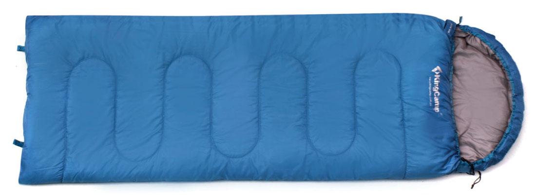 Спальный мешок-одеяло KingCamp Oasis 250 KS3121, правосторонняя молния, цвет: синий