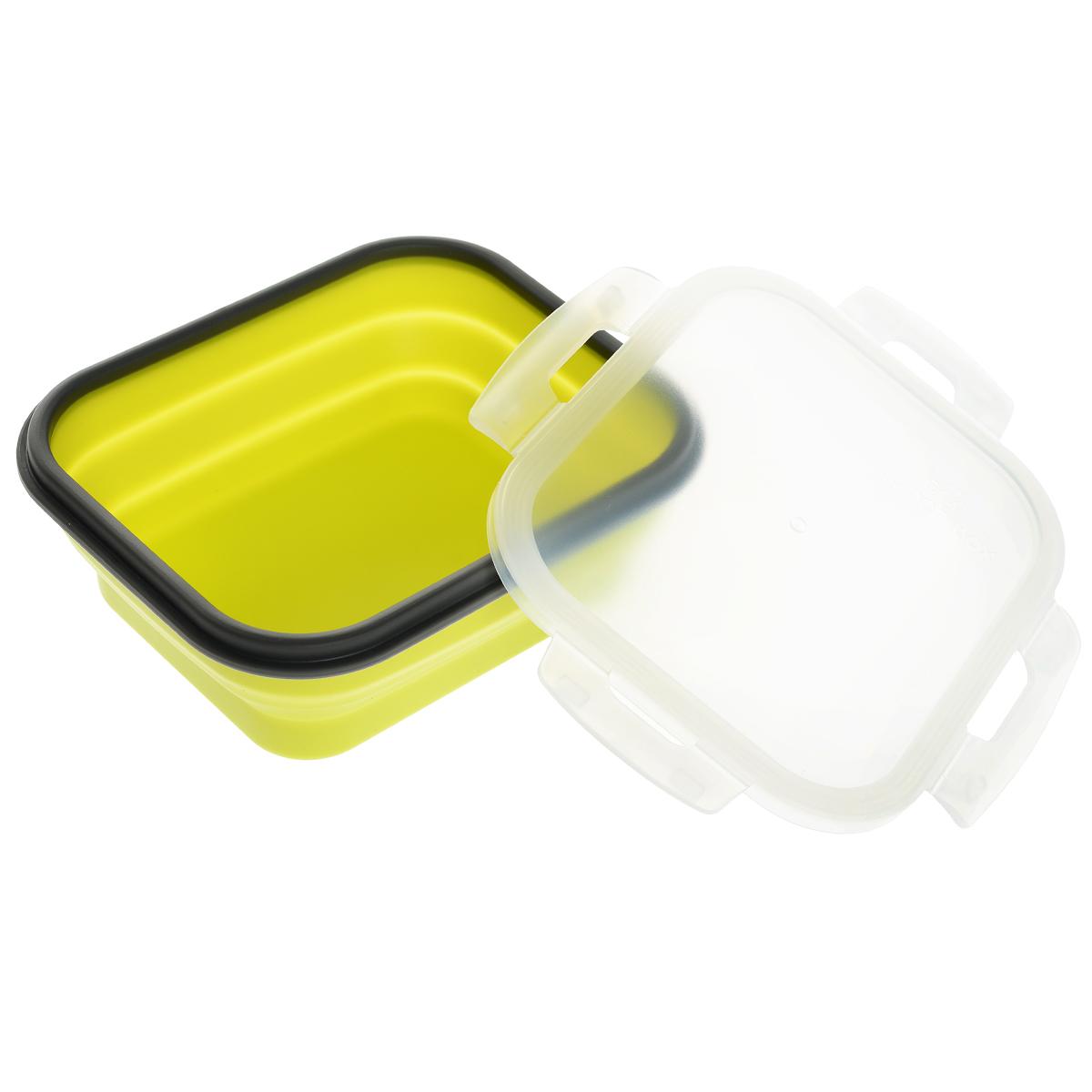 Контейнер силиконовый, складной, 18 х 15 х 7 см842-003Складной контейнер с крышкой, выполненный из силикона, это удобная илегкая тара для хранения и транспортировки бутербродов, порционных салатов, мяса илирыбы, горячих и холодных блюд, даже жидких продуктов.Силикон - экологически безопасный материал, не выделяющий вредных веществ привзаимодействии с пищей.Если у вас вошло в привычку брать на работу домашнюю еду,с этим контейнером вы можете разнообразить свой рацион. После использования контейнерможно просто сложить, он становится в два раза меньше по высоте и легко поместится всумку. Необычная форма, яркий цвет, более удобная конструкция - все это отличаетконтейнер от других лоточков. Контейнер абсолютно герметичен. Пластиковая крышка оснащена четырьмя специальнымизащелками. Характеристики:Материал: силикон, пластик. Размер контейнера (с учетом крышки): 18 см х 15 см х 8 см. Размер контейнера в сложенном виде (с учетом крышки): 15 см х 15 см х3,5 см.