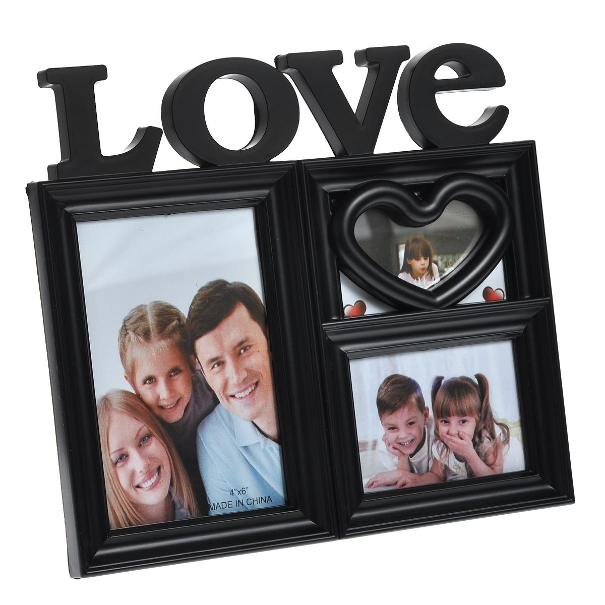 Фоторамка Love, цвет: черный, на 3 фото. 807604807604