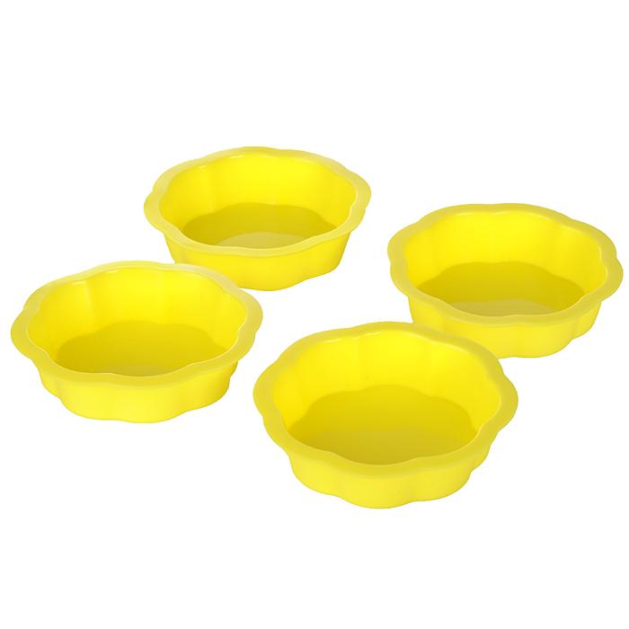 Набор форм для выпечки Цветок, 4 шт830-124Набор Цветок состоит из четырех формочек, выполненных изтермостойкогосиликона. Формочки устойчивы к температурам от -40 °С до+240 °С. Они идеально подходят для приготовления бисквитов, тортов вдуховке. В такой форме выпечка не пригорает, не пристает и легковынимается из нее. Нужно лишь залить в формочку тесто и поставить вдуховку, и через некоторое время вы сможете порадовать своих близкихоригинальной выпечкой.Характеристики:Материал:силикон.Диаметр по верхнему краю: 8 см.Высота:5,5 см.