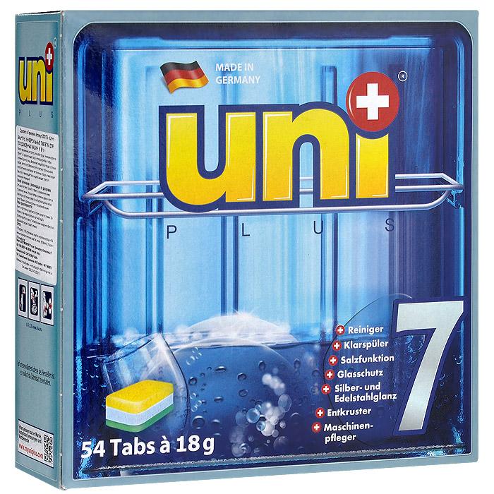 Таблетки для посудомоечных машин UniPlus 7 в 1, 54 х 18 г200179Универсальные таблетки для посудомоечных машин UniPlus 7 в 1предназначены для полного цикла мойки посуды.Они гарантируют удаление стойких загрязнений и обеспечивают сияющий блеск без разводов. Уникальная формула таблеток удаляет засохший жир, накипь и отложения внутри машины. Специальная соль, которая входит в состав таблеток, уменьшает жесткость воды. Специальные компоненты, входящие в состав таблеток, обеспечивает щадящую, но тщательную очистку. В то же время защищают стекло от повреждений и коррозии, препятствуют образованию пятен. Таблетки для посудомоечных машин UniPlus 7 в 1 изготовлены по новым технологиям и рекомендуются для использования в посудомоечных машинах ведущих производителей.Состав: 30% фосфаты, 5-15 отбеливатель на кислородной основе, 5% неионные поверхностно-активные вещества, энзимы, фосфаты, 5% поликарбоксилат.