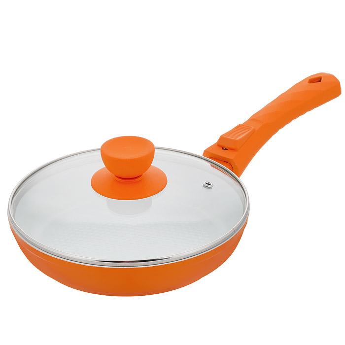 Сковорода Bohmann с крышкой, со съемной ручкой, с керамическим покрытием, цвет: оранжевый. Диаметр 20 см. 7020BH/2WC7020BH/2WC оранжСковорода Bohmann изготовлена из литого алюминия с антипригарнымкерамическимпокрытием. Антипригарное покрытие содержит 5 слоев: - бесцветное огнеупорное покрытие, - жаропрочный базовый слой, - алюминий, - керамический базовый слой, - керамический защитный слой. Внешнее покрытие - жаростойкий лак красного цвета, который сохраняетцвет долгое время иобладает жироотталкивающими свойствами. Благодаря керамическомупокрытию пища непригорает и не прилипает к поверхности сковороды, что позволяетготовить с минимальнымколичеством масла. Кроме того, такое покрытие абсолютно безопасно дляздоровья человека,так как не содержит вредной примеси PTFE. Рифленая внутренняяповерхность сковороды ввиде сот обеспечивает быстрое и легкое приготовление. Достоинства керамического покрытия: - устойчивость к высоким температурам и резким перепадам температур,- устойчивость к царапающим кухонным принадлежностям и абразивныммоющим средствам,- устойчивость к коррозии, - водоотталкивающий эффект, - покрытие способствует испарению воды во время готовки, - длительный срок службы, - безопасность для окружающей среды и человека. Сковорода быстро разогревается, распределяя тепло по всей поверхности,что позволяетготовить в энергосберегающем режиме, значительно сокращая время,проведенное у плиты.Сковорода оснащена съемной ручкой, выполненной из пластика спрорезиненным покрытием.Такая ручка не нагревается в процессе готовки и обеспечивает надежныйхват. Крышкаизготовлена из жаропрочного стекла, оснащена ручкой, отверстием длявыпуска пара иметаллическим ободом. Благодаря такой крышке можно следить заприготовлением пищи безпотери тепла. Можно готовить на газовых, электрических, стеклокерамических,галогенных, индукционныхплитах. Подходит для чистки в посудомоечной машине.