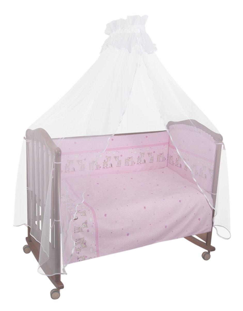 Комплект в кроватку Тайна снов Оленята, цвет: розовый, 7 предметов727/2Комплект в кроватку Тайна снов Оленята прекрасно подойдет для кроватки вашего малыша, добавит комнате уюта и согреет в прохладные дни.В качестве материала верха использован натуральный хлопок, мягкая ткань не раздражает чувствительную и нежную кожу ребенка и хорошо вентилируется.Бампер, подушка и одеяло наполнены синтепоном. Элементы комплекта оформлены изображениями симпатичных оленят. Комплект состоит из: бампера с чехлами на застежке-молнии,балдахина с сеткой,подушки,одеяла,пододеяльника,наволочки,простыни.Для производства изделий Тайна снов используются только высококачественные ткани ведущих мировых производителей. Благодаря особым технологиям сбора и переработки хлопка сохраняется естественная природная структура волокна.