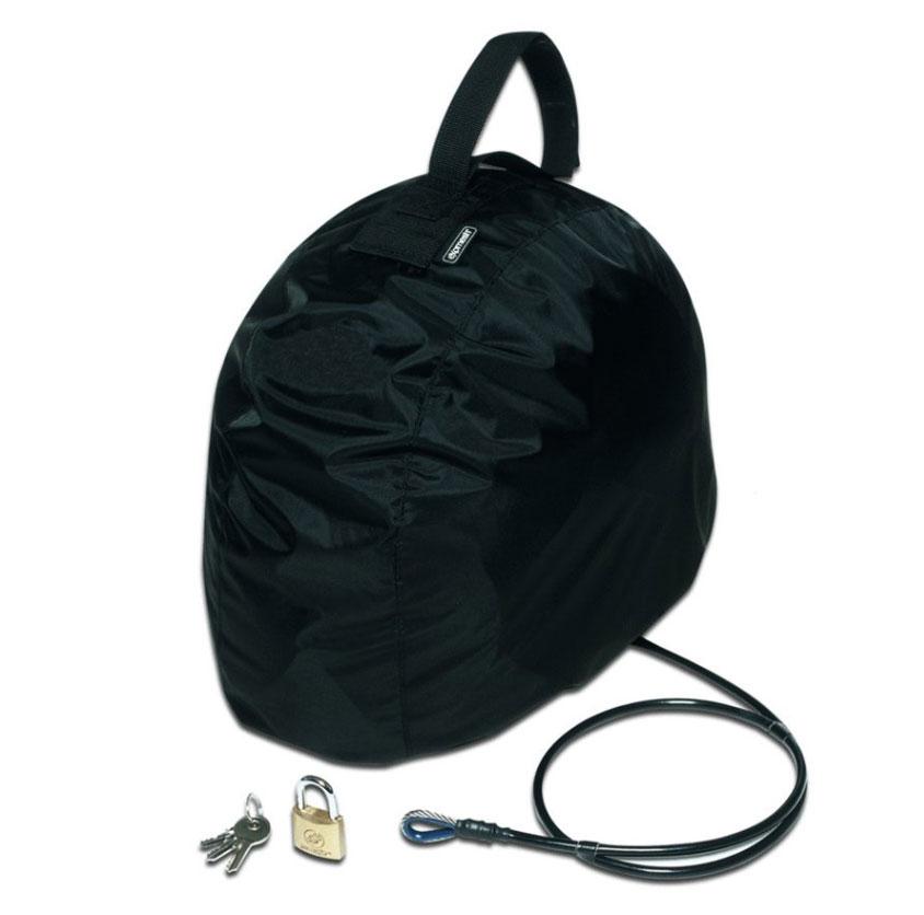 Сумка PacSafe для мотошлема с тросом Lidsafe, цвет: черныйPH000BKСумка PacSafe разработана специально для защиты вашего снаряжения от воров, а также дождя. С технологиями защиты eXomesh, Lidsafe и Stuffsafe, шлем, куртка, перчатки, сапоги и другие ценные вещи останутся сухими, безопасным и защищенным от любых угроз, включая погоду.Забудьте таскать свой шлем с собой. Заблокируйте и оставьте с вашим байком.Особенности:Водонепроницаемая крышка.Универсальный подвесной ремень.Компактно складывается до размера 11 см х 16 см.Транспортировочный чехол входит в комплект.Объем: 20 л.