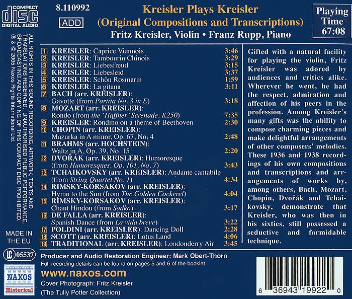 Kreisler Plays Kreisler Naxos Rights International Ltd.,Warner Music