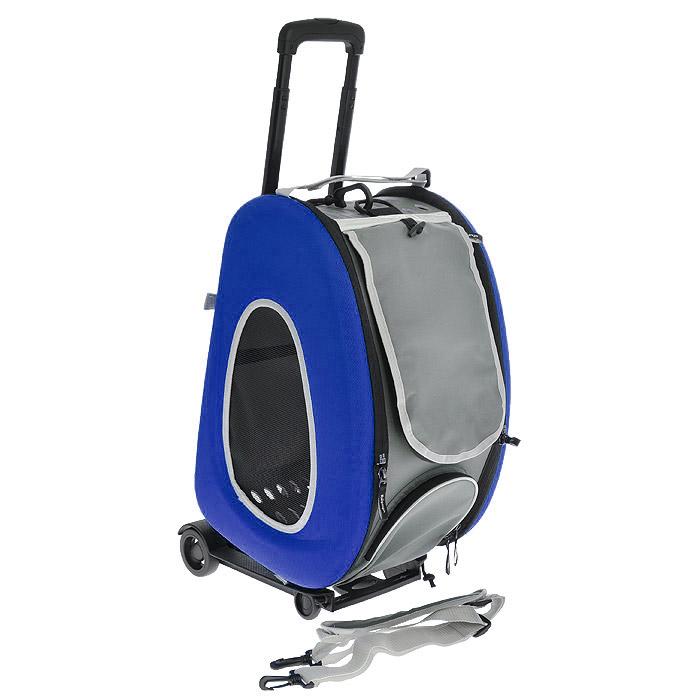 Cумка-тележка для собак 3в1 Ibiyaya, до 8 кг, цвет: синий, 34 см х 30 см х 58 см340900Невероятно удобный дизайн и стиль сумки тележки 3 в 1 Ibiyaya для собак до 8 кг поможет в путешествиях и прогулках вам и вашему питомцу. Многофункциональная, из прочного плотного материала, легко складывается и раскладывается, имеет объемный карман на молнии и вход на молнии с сетчатым окошком, закрывающийся накладкой на липучке, боковые стороны также имеют сетчатые окошки и овальные отверстия все это сумка-тележка. В сложенном виде это компактный кейс который занимает минимум места.Сумку можно использовать как рюкзак, как сумку через плечо и пристегивать как авто-кресло в автомобиле. Внутри имеется ремешок пристегивающийся к ошейнику, мягкая подстилка на липучках которую можно поменять на разовую пеленку. Дизайн сумки разработан с учетом последних модных тенденций и выгодно выделяет модель среди аналогичных товаров. Можно выбрать цвет: синий, оранжевый, лайм. В комплекте - инструкция с картинками по сборке сумки на русском языке.Полный размер: 58 см х 30 см х 34 см.
