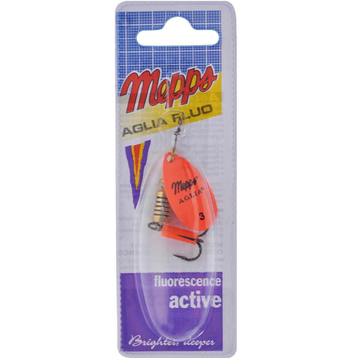 Блесна Mepps Aglia Fluo Orange, вращающаяся, №3