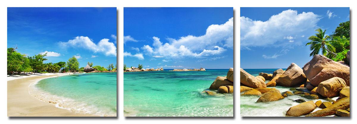 Канвас триптих Idea Остров, 150 см х 50 смIDEA FL2-04Канвас - это ткань (полиэстер) с художественной фотопечатью, натянутая на деревянный каркас. Триптих включает три элемента, которые образуют единый рисунок. Такое изделие - оригинальный декоративный элемент, способный преобразить любой интерьер. Картина оформлена красочным изображением побережья тропического острова. С задней стороны имеются петельки для подвешивания к стене. Элементы следует размещать на стене, оставляя между ними небольшой промежуток.Стильный, современный дизайн, а также яркие и насыщенные цвета сделают эту картину прекрасным дополнением интерьера комнаты.